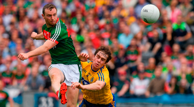 Mayo's Keith Higgins getting his effort away in yesterday's All-Ireland SFC quarter-final replay in Croke Park. Photo by Ray McManus/Sportsfile