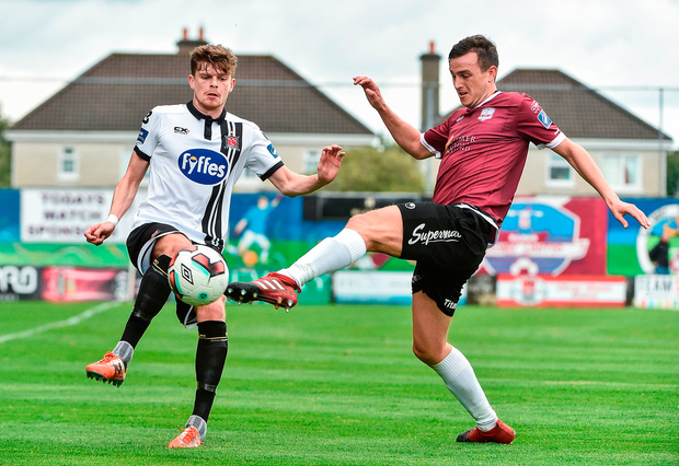 Sean Gannon of Dundalk in action against Marc Ludden of Galway United. Photo by David Maher/Sportsfile