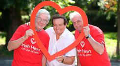 RTÉ's Marty Morrissey with Bobby Mulvaney, (right) Sallins Men's Shed, and Matt Maher, Sandyford Men's Shed. Photo: Damien Eagers
