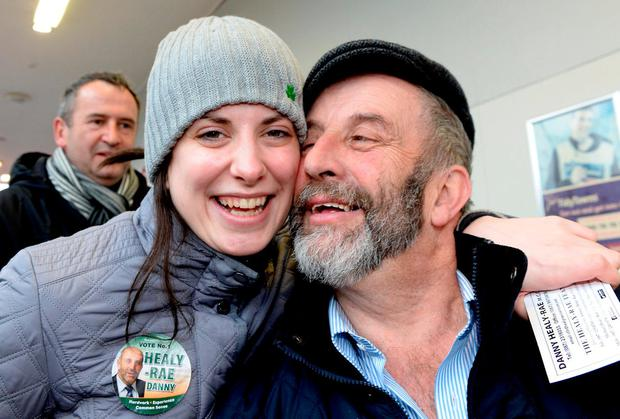Maura Healy-Rae with her father Danny. Photo: Don MacMonagle