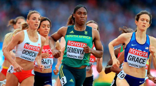 South Africa's Caster Semenya (centre) during the Women's 1500m Heat One during day one of the 2017 IAAF World Championships at the London Stadium