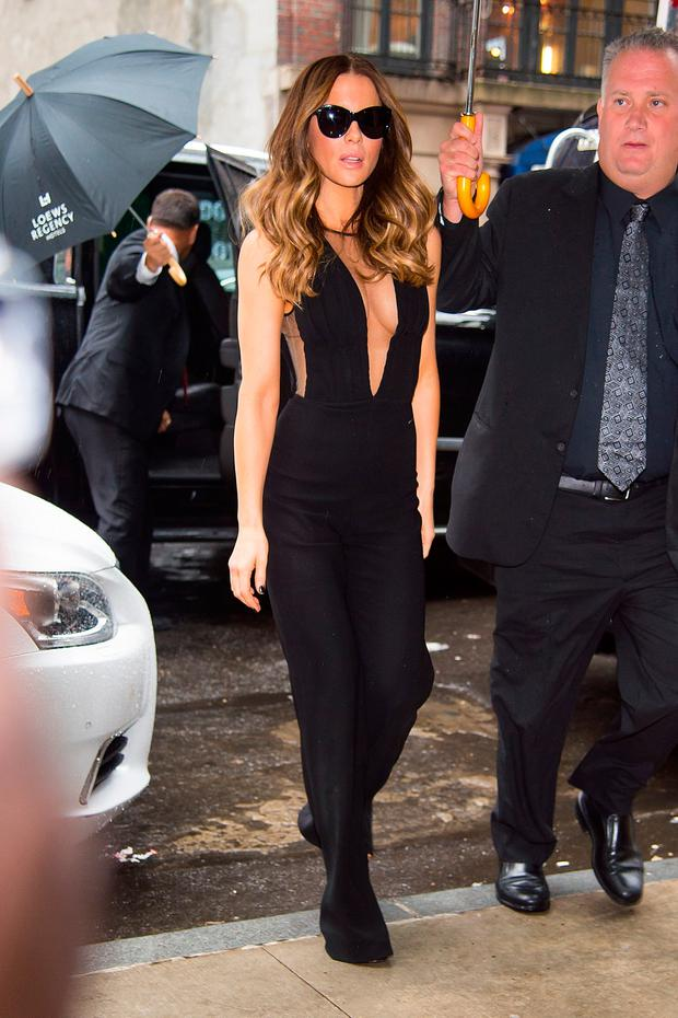 Actress Kate Beckinsale is seen in Midtown on August 7, 2017 in New York City. (Photo by Gotham/GC Images)