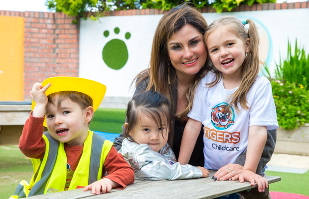 Pictured at today's announcement (L-R): Harry Fitzpatrick (3), Chloe Li (2), Karen Clince, Owner and CEO, TigersChildcare and Lily Coffey (4).