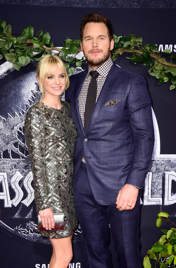 Actors Anna Faris (L) and Chris Pratt attend the Universal Pictures'