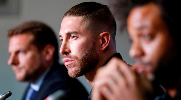 Real Madrid's Sergio Ramos during the press conference