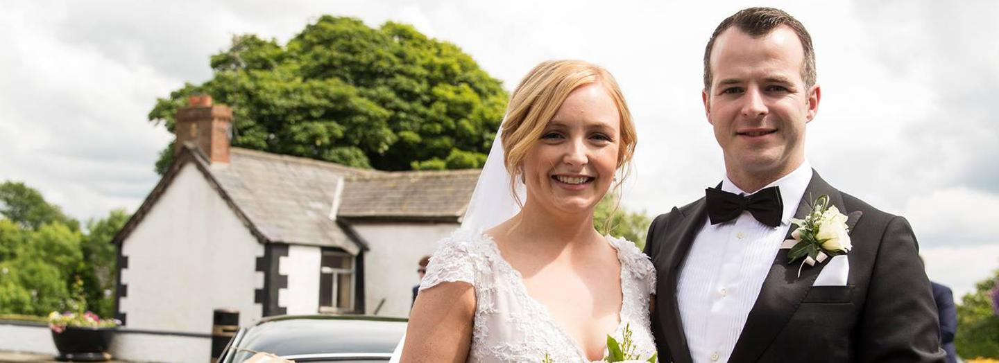 Laoise and Dean outside St Michael's Church, Ardaghey   Photo by Lavender Bay Photography