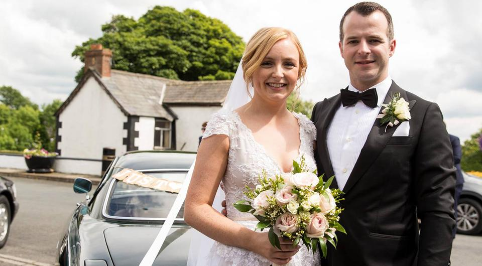Laoise and Dean outside St Michael's Church, Ardaghey | Photo by Lavender Bay Photography
