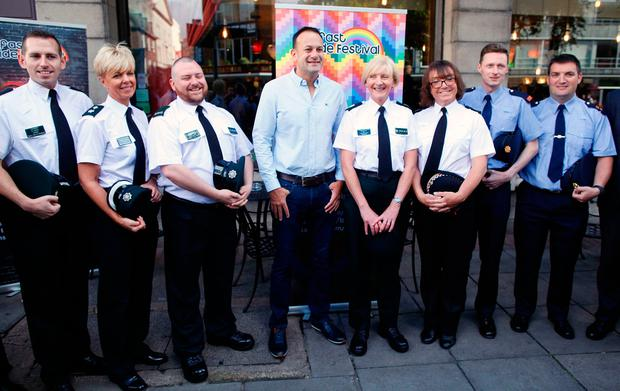 Taoiseach Leo Varadkar meets members of the PSNI and Garda representative of the Gay community as he arrives for a Gay Pride breakfast meeting at the Northern Whig bar in Belfast. Photo: Peter Morrison/PA Wire