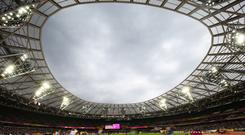 IAAF World Championships; Day 4; General view of the London Stadium during the 200 metres men's round 1 race (Photo by John Patrick Fletcher/Action Plus via Getty Images)