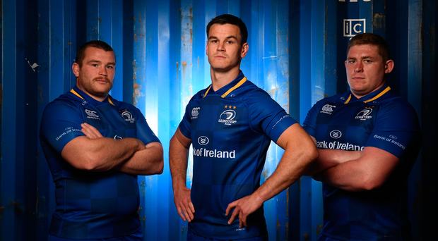 8 August 2017; Leinster players, from left, Jack McGrath, with Jonathan Sexton and Tadhg Furlong as Canterbury has revealed the new Leinster home jersey for the 2017/18 season. Photo by Ramsey Cardy/Sportsfile