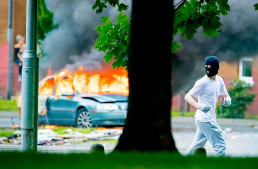 Trouble erupts in the Markets area of Belfast after bonfire material was removed on August 7th 2017 (Photo by Kevin Scott / Belfast Telegraph)