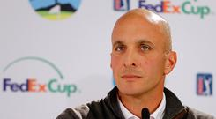 CEO of PGA of America, Pete Bevacqua, speaks at a press conference before the start of the AT&T Pebble Beach Pro-Am at Pebble Beach Golf Links on February 8, 2017 in Pebble Beach, California. (Photo by Jonathan Ferrey/Getty Images)