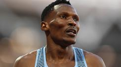 LONDON, ENGLAND - AUGUST 06: Isaac Makwala of Botswana looks on in the mens 400m semi-finals during day three of the 16th IAAF World Athletics Championships London 2017 at The London Stadium on August 6, 2017 in London, United Kingdom. (Photo by David Ramos/Getty Images)