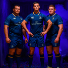 Leinster players Jack McGrath, Johnny Sexton and Tadhg Furlong at the launch of Leinster's new Canterbury home jersey for the 2017/18 season Photo: Ramsey Cardy/Sportsfile