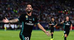 Isco of Real Madrid celebrates after scoring his sides second goal during the UEFA Super Cup match between Real Madrid and Manchester United at National Arena Filip II Macedonian on August 8, 2017 in Skopje, Macedonia. (Photo by Chris Brunskill Ltd/Getty Images)