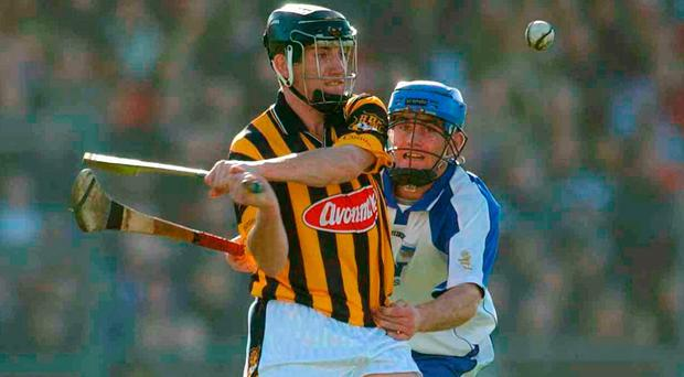 Waterford's Michael 'Brick' Walsh challenges Derek Lyng of Kilkenny during the Allianz League back in 2003 - Walsh's first year with the county senior team. Photo: Damien Eagers / Sportsfile