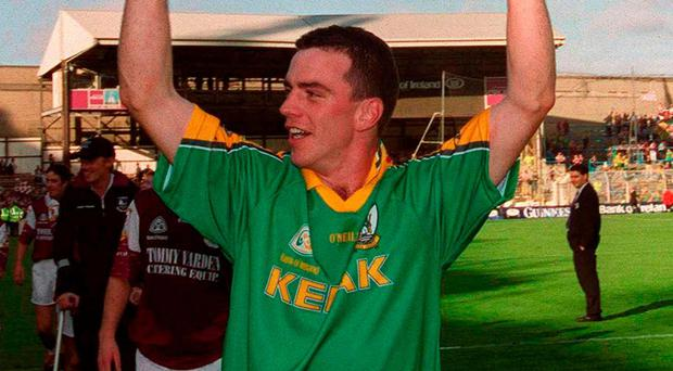 Padraic Joyce celebrates Galway's All-Ireland SFC final success over Meath in 2001, the last time the Tribesmen won a championship game in Croke Park. Since then both teams have suffered a sharp decline in fortunes