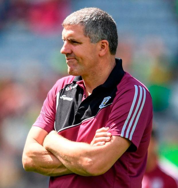 Galway manager Kevin Walsh can only look on as his troops lose to Kerry last month. Photo: Sportsfile