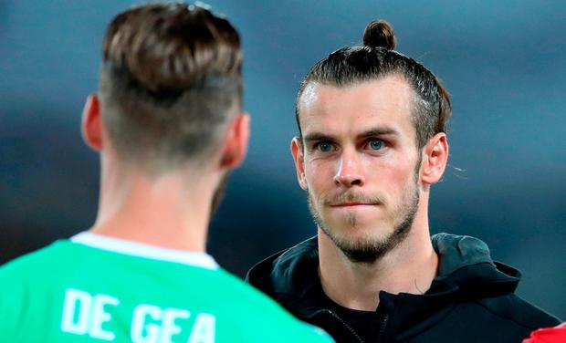 Real Madrid's Gareth Bale faces Manchester United goalkeeper David de Gea during the UEFA Super Cup match at the Philip II Arena, Skopje, Macedonia.