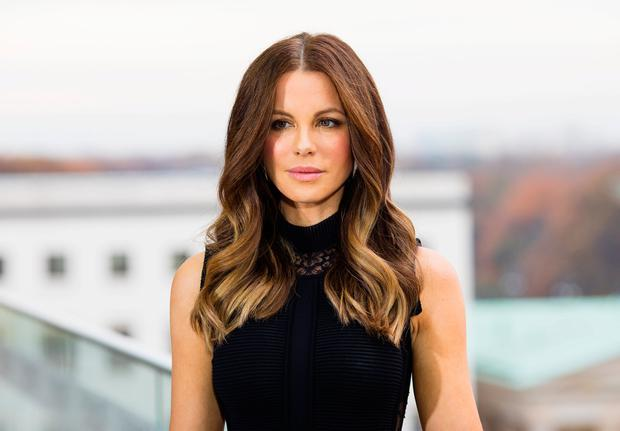 Actress Kate Beckinsale attends the Berlin to photocall for 'Underworld: Blood Wars' wearing a dress by Elie Saab on the terrace at Akademie der Kuenste on November 22, 2016 in Berlin, Germany. (Photo by Brian Dowling/Getty Images for Sony Pictures)