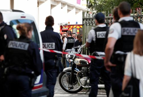 Police secure the scene where French soliders were hit and injured by a vehicle in the western Paris suburb of Levallois-Perret, France, August 9, 2017 (Reuters)
