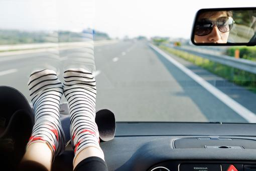 Placing feet upon the dashboard is extremely dangerous in the event of an accident