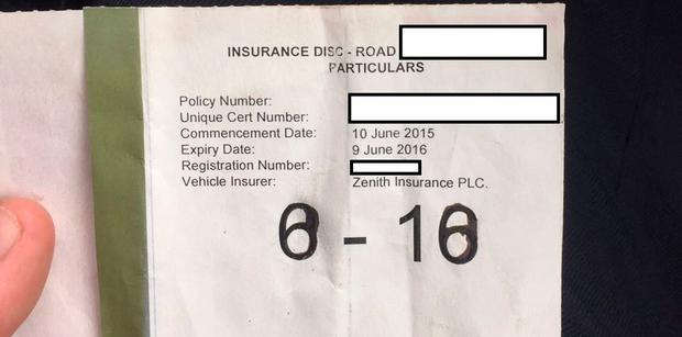 Example of a forged insurance disc. Picture: Garda Press Office