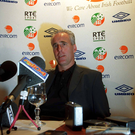 Former Republic of Ireland manager Mick McCarthy pictured at a press conference to announce details of the 23 man squad to go to the 2002 World Cup, Holiday Inn, Dublin Airport. Soccer. Picture credit; David Maher / SPORTSFILE
