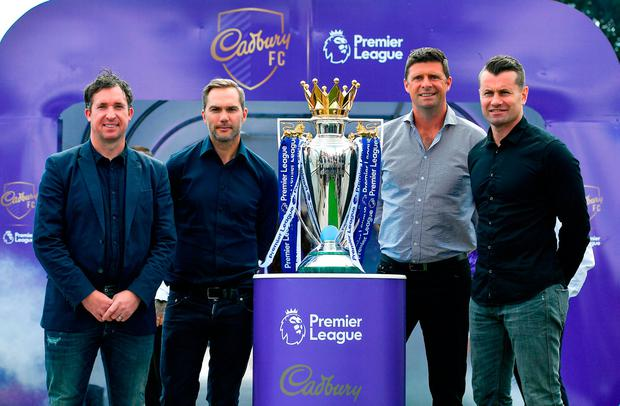 Robbie Fowler was in Dublin yesterday to join Cadbury Premier League ambassadors and Irish football heroes Niall Quinn, Shay Given and Jason McAteer to officially launch Cadbury's brand new partnership with the Premier League, to become their 'Official Snack Partner'. Photo: Sportsfile