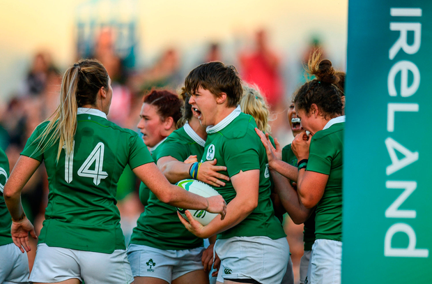 Ciara Griffin, centre, of Ireland celebrates after scoring her sides second try during the 2017 Women's Rugby World Cup Pool C match between Ireland and Australia at the UCD Bowl in Belfield, Dublin. Photo: Eóin Noonan/Sportsfile