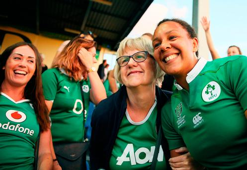 Ireland's Sophie Spence celebrates with her mother Myrtle Spence after the match against Australia. Picture: PA