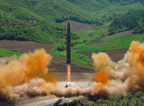 A photo distributed by the North Korean government of what it said was the launch of a Hwasong-14 intercontinental ballistic missile, in North Korea's northwest. Photo: AP