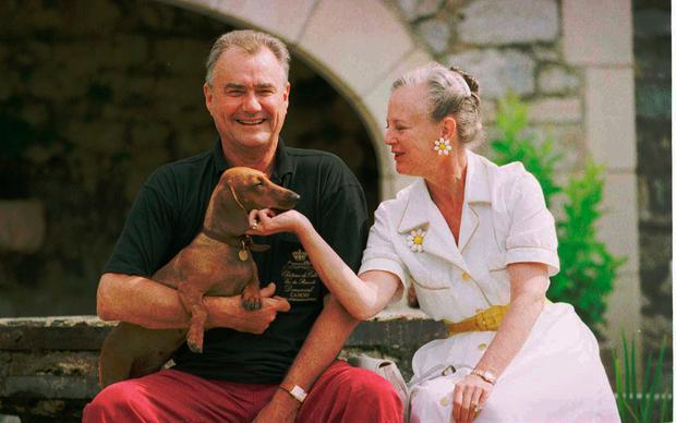 A file picture taken in August 14, 1996 shows Denmarks Queen Margrethe with her husband Prince Consort Henrik in there southern France residence of Chateau Caix in Cahors