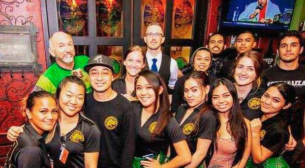 Sean Hale (Back row with glasses) says people in Guam are 'calm'