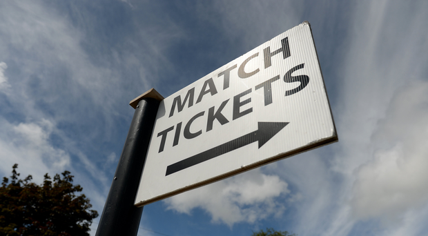 A general view of a ticket sign outside the grounds before the Leinster GAA Football Senior Championship Quarter-Final match between Laois and Kildare at O'Connor Park, in Tullamore, Co. Offaly. Photo by Piaras Ó Mídheach/Sportsfile