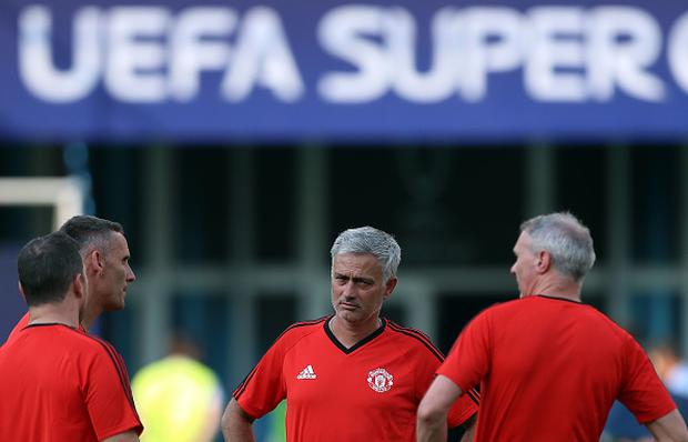 Jose Mourinho, Manager of Manchester United looks on during a training session ahead of the UEFA Super Cup at the National Arena Filip II Macedonian on August 7, 2017 in Skopje, Macedonia. (Photo by Amin Mohammad Jamali/Getty Images)