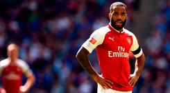 Arsenal's Alexandre Lacazette during the Community Shield at Wembley. Photo: PA