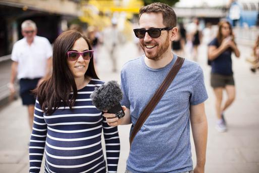 Walk and talk: Cork couple Dave and Cathy Corkery record their Cinemile podcast on the way home from the cinema. Photo: Tom Medwell