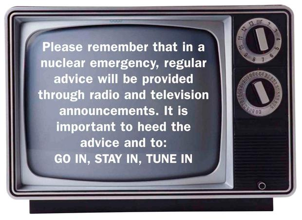 """The leaflet advises people to """"Go in, Stay in, Tune in"""" should a nuclear emergency arise and monitor TV and radio for updates."""