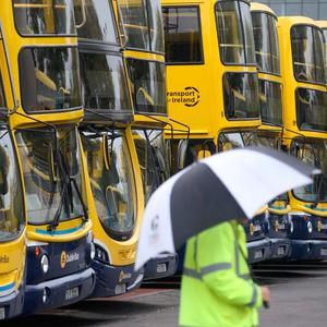 Vehicles parked at the Dublin Bus depot on Conyngham Road Picture: Collins Dublin
