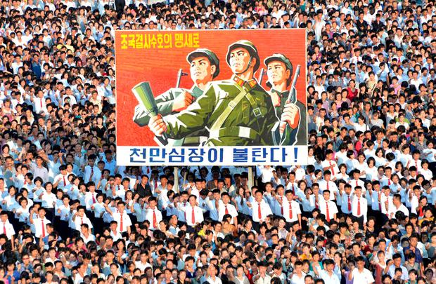 North Korea released this propaganda photo of a mass rally in Pyongyang this week in support of Kim Jong-un. Picture: Reuters