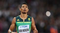 Wayde van Niekerk of South Africa reacts as he crosses the line in the mens 200 metres final during day seven of the 16th IAAF World Athletics Championships London 2017 at The London Stadium on August 10, 2017 in London, United Kingdom. (Photo by Shaun Botterill/Getty Images)