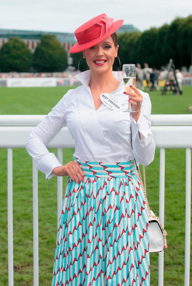 Best Dressed Lady winner Aoibheann McMonagle at the RDS Horseshow in Ballsbridge. Picture: Gareth Chaney Collins