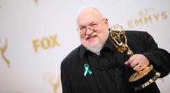 Writer/producer George R.R. Martin, winner of the award for Outstanding Drama Series for 'Game of Thrones', poses in the press room at the 67th Annual Primetime Emmy Awards at Microsoft Theater on September 20, 2015 in Los Angeles, California. (Photo by Mark Davis/Getty Images)