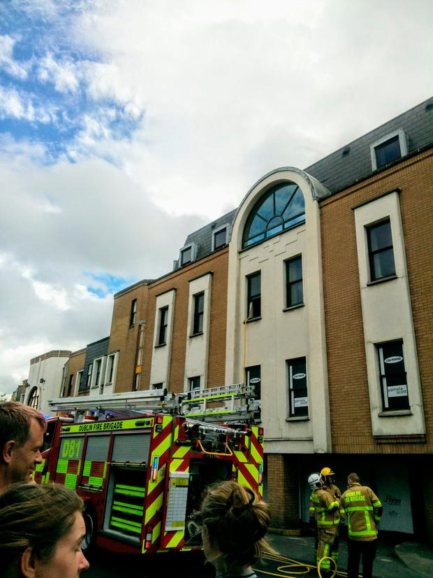 Scene of the fire at Blackrock Shopping Centre, South Dublin. Picture: @PaulFedayn and DubFireBrigade