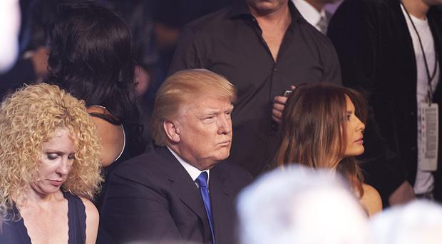 Closeup of celebrity businessman and media personality Donald Trump in crowd before Floyd Mayweather vs Manny Pacquiao fight at MGM Grand Garden Arena. Photo by Robert Beck /Sports Illustrated/Getty Images)