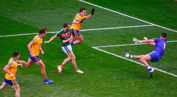 Keith Higgins of Mayo scores his side's third goal in their rout of Roscommon