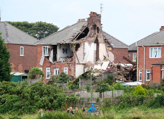 Damage to a property in Rosslyn Avenue, Sunderland, after an explosion. Photo: Owen Humphreys/PA Wire