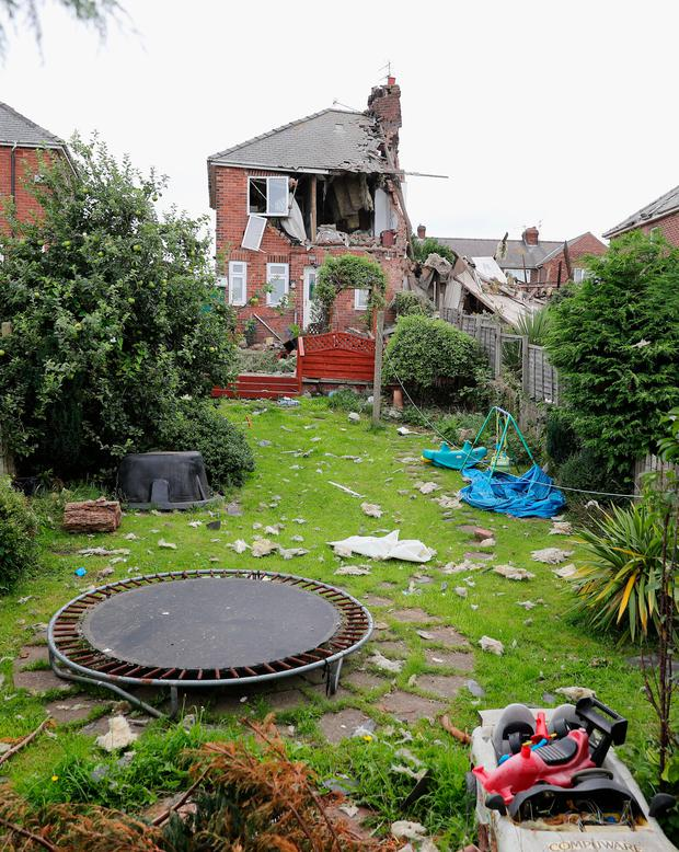 The scene in Rosslyn Avenue, Sunderland, after an explosion at a house. Photo: Owen Humphreys/PA Wire