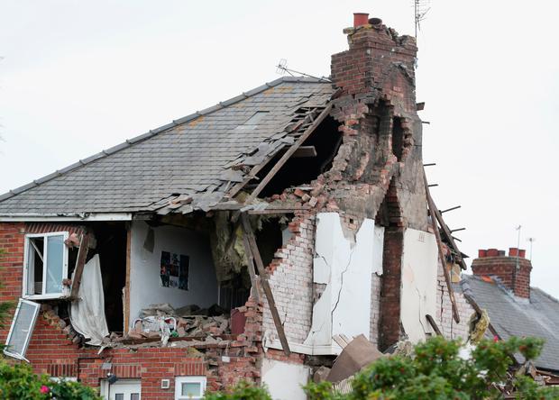 The scene in Rosslyn Avenue, Sunderland, after an explosion at a house. PRESS ASSOCIATION Photo. Picture date: Friday August 11, 2017. Northumbria Police said gave few details other to say the explosion happened at a private address on the road. Photo: Owen Humphreys/PA Wire